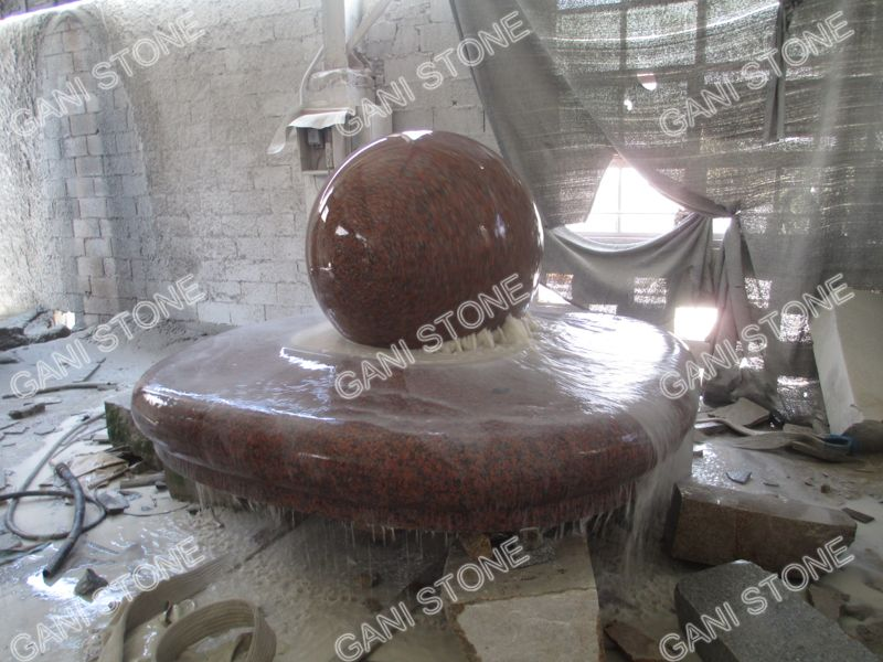 Red Granite Fortune Ball Fountain Packing