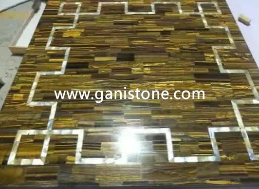 Yellow Tiger Eye Inlaid with Shell Mosaic Dinning Table